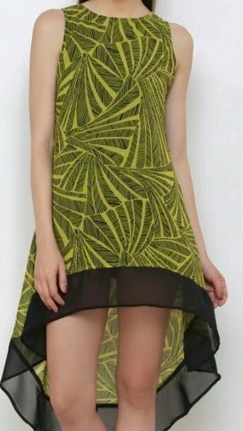 Women s Sexy Black and Flouroscent Yellow Green Sleeveless Dress / Tunic / Top Buy from our eBay shop or Whatsapp 9718721059