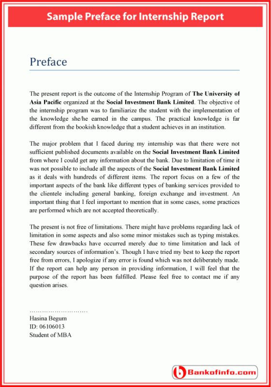 Sample Preface For Internship Report Internship Report