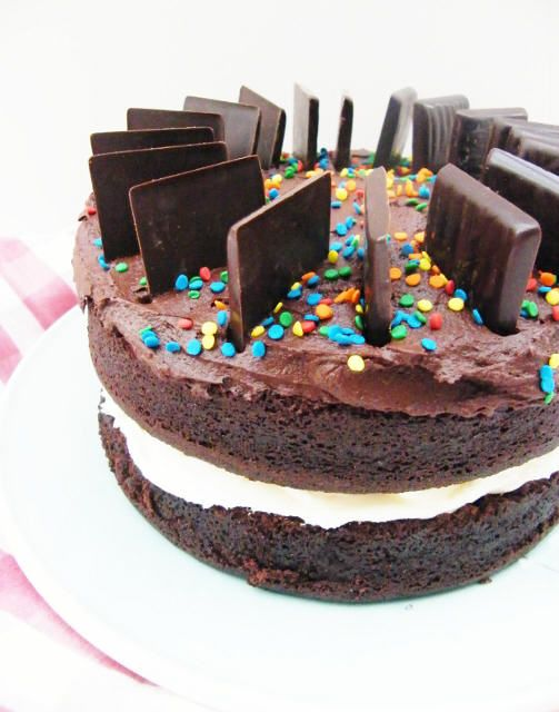 Moist After Eight Chocolate Cake. Filled with peppermind buttercream and topped with chocolate buttercream, sprinkles and After Eights. This is an easy cake that always comes out beautifully. A great birthday party cake. Everyone loves chocolate.