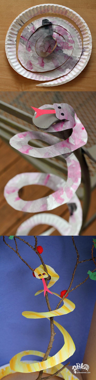 Turn a paper plate into a Pet Snake. An Original #kids #craft by www.piikeastreet.com #piikeastreet