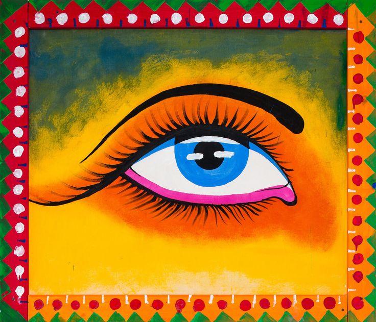 Iman Raad, Eye (Left), 2017, acrylic on raw canvas, 34 x 40 inches
