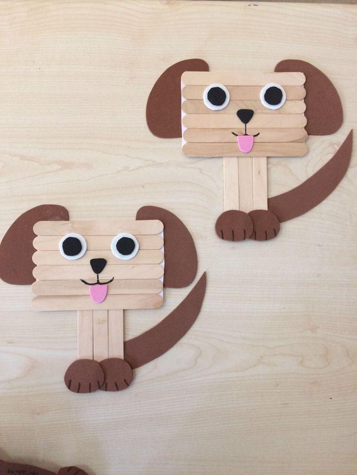 Dil çubuklarından köpek yapımı