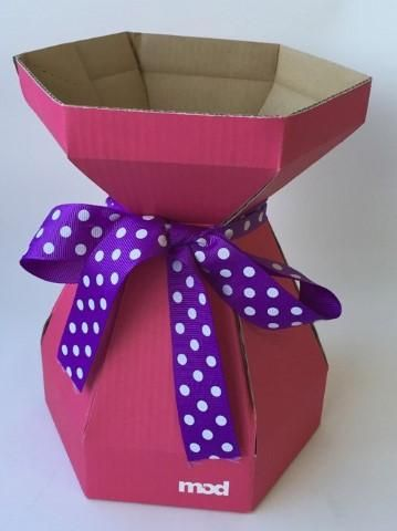 Inexpensive Cardboard boxes for the bases to create a lovely floral display from Renascent Bath and Body