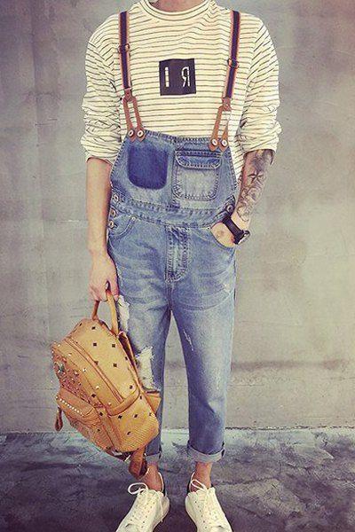 Holes Cat's Whisker Design Narrow Feet Slimming Fashion Denim Overalls For Men