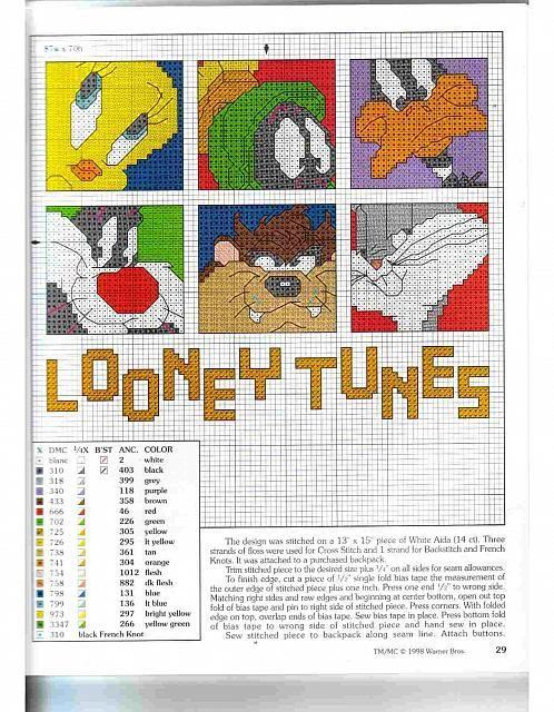scritta Looney Tunes con volti dei personaggi a punto croce