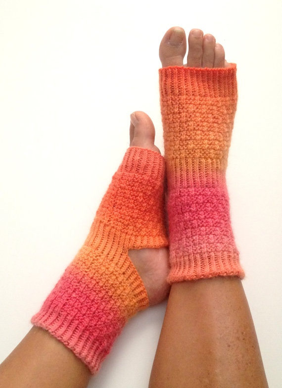 Yoga Socks Hand Knit in Pink and Orange by MadebyMegShop $30.00