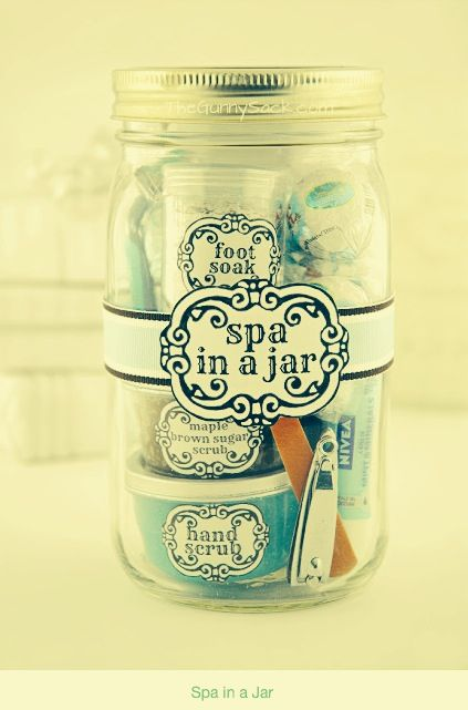 Cute present idea...lots of different gifts, sick jar, spa jar kitchen utensils