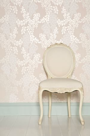 Farrow & Ball Wisteria BP 2208 wallpaper  Skirting: Teresa's Green Estate Eggshell {Bedroom}