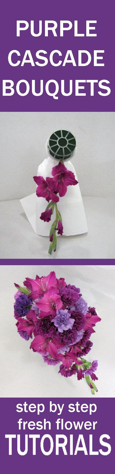 Purple Wedding Flower Bouquets - Easy Free Fresh Flower Tutorials Learn how to make bridal bouquets, wedding corsages, groom boutonnieres, church decorations, reception centerpieces and more!