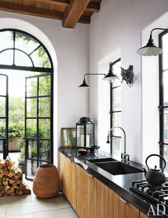 Rustic modern kitchen design in New York City via @thouswellblog