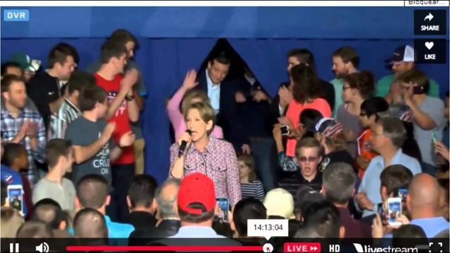 At a rally in La Porte, Indiana on Sunday, Carly Fiorina introduced the Cruz family before immediately falling off a low stage.