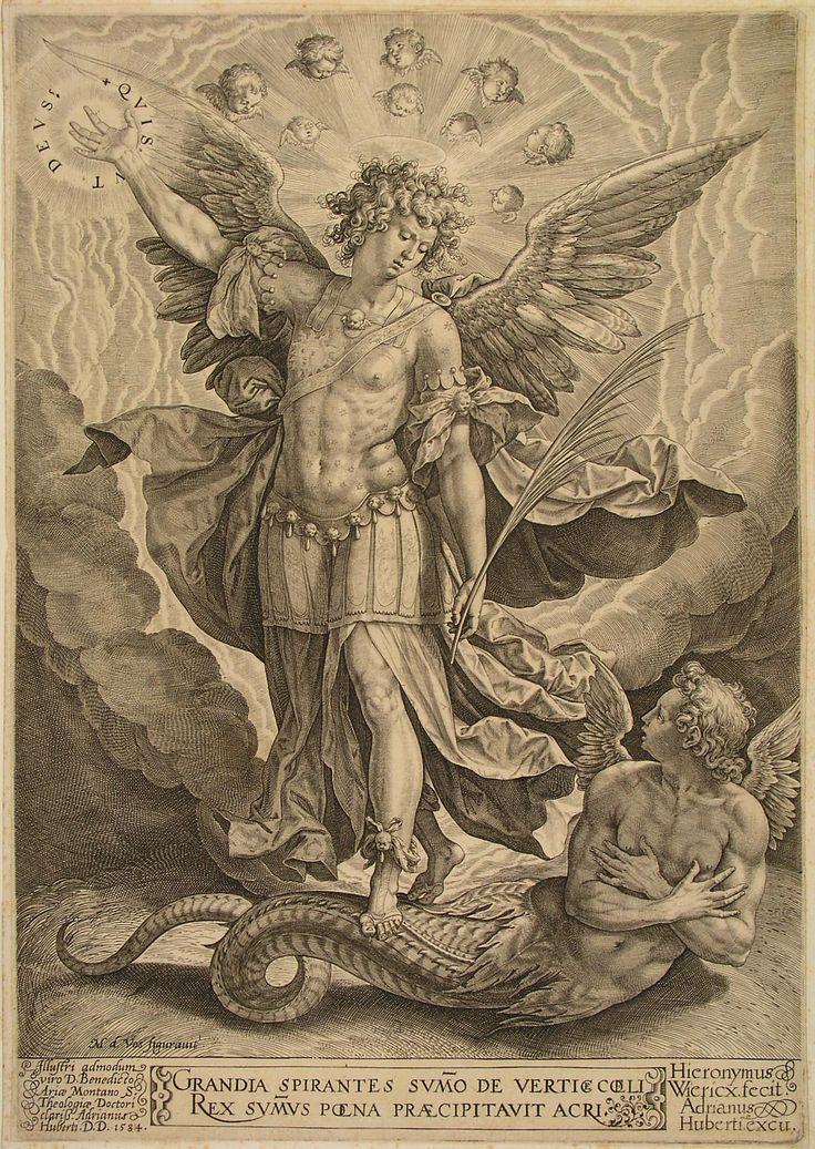 De aartsengel Michael (1584), door Hieronimus Wierix, Prentenkabinet Museum Boijmans Van Beuningen