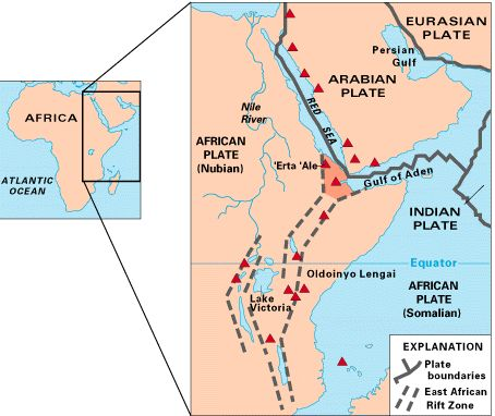 Map of East Africa showing some of the historically active volcanoes(red triangles) and the Afar Triangle (shaded, center) -- a triple junction where three plates are pulling away from one another: the Arabian Plate, the African Plate, and the Somali Plate (USGS).