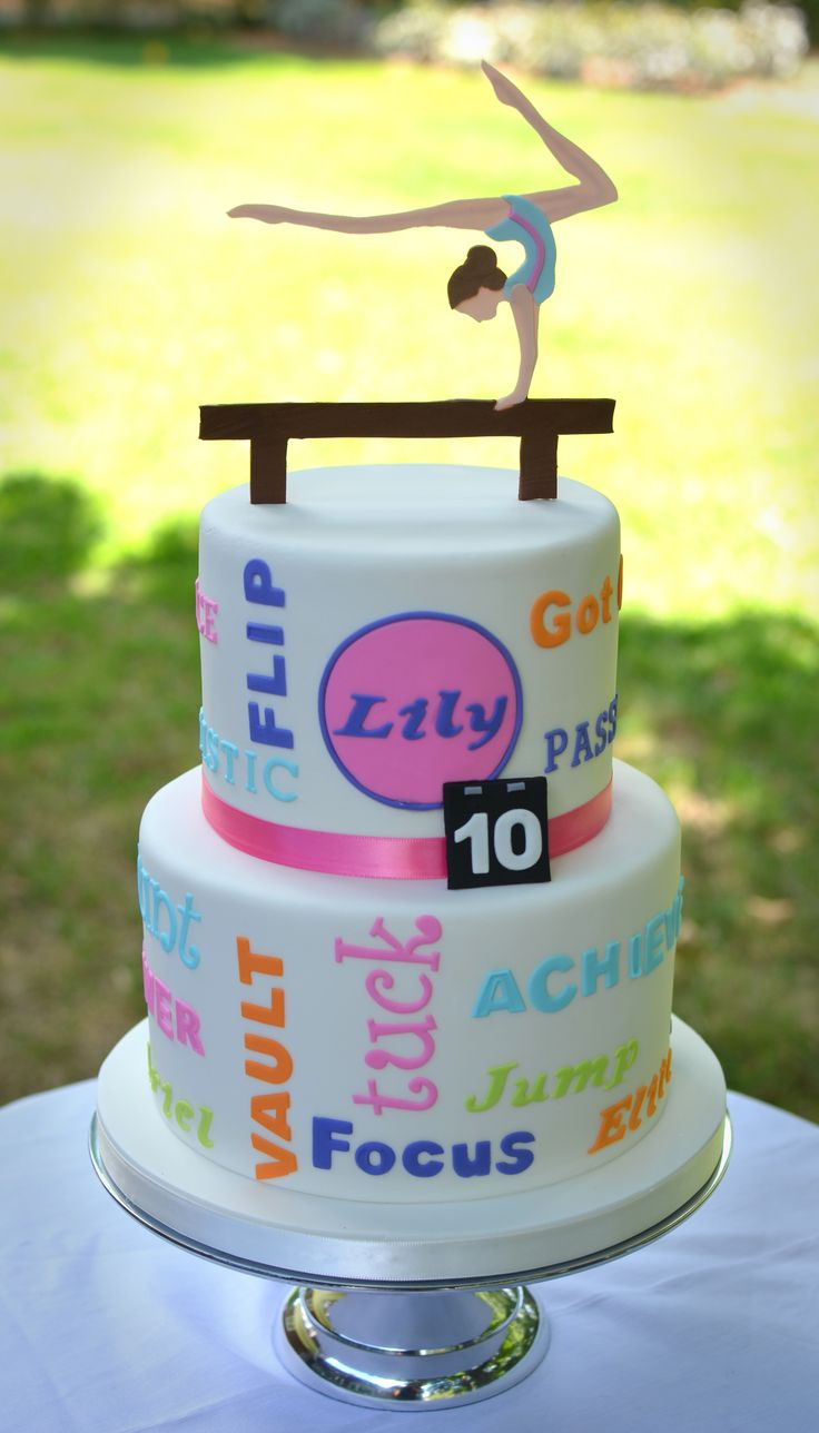 Gymnastics themed cake! This is it!!!! So cute!!