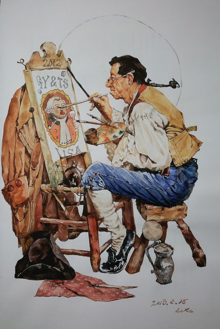water brush/ norman rockwall /  painter