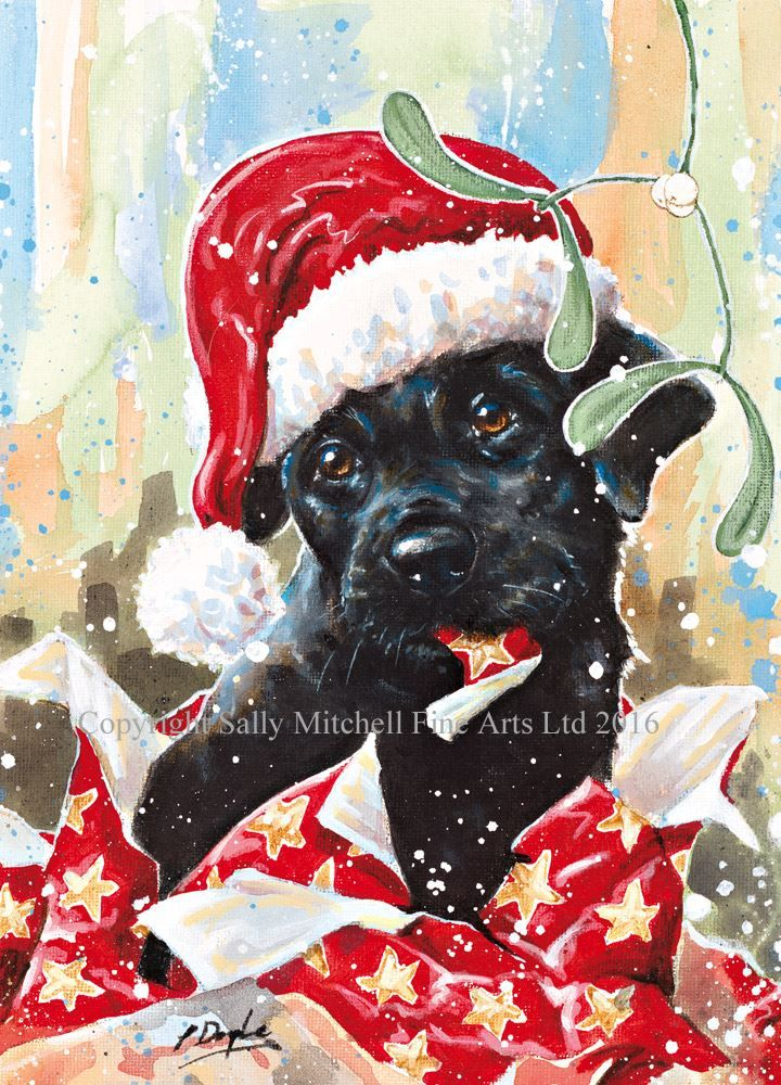 Black Labrador Puppy Christmas Cards 'Christmas Wrappings' C368X