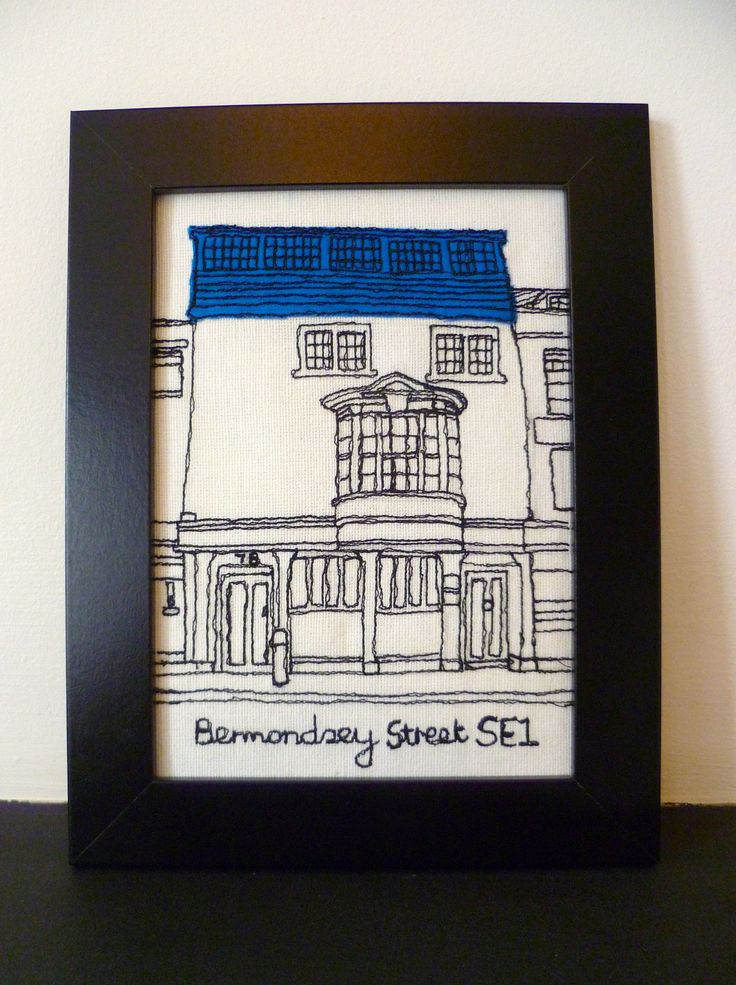 Freehand machine embroidery picture- -House in Bermondsey street, London, England.. £25.00, via Etsy.