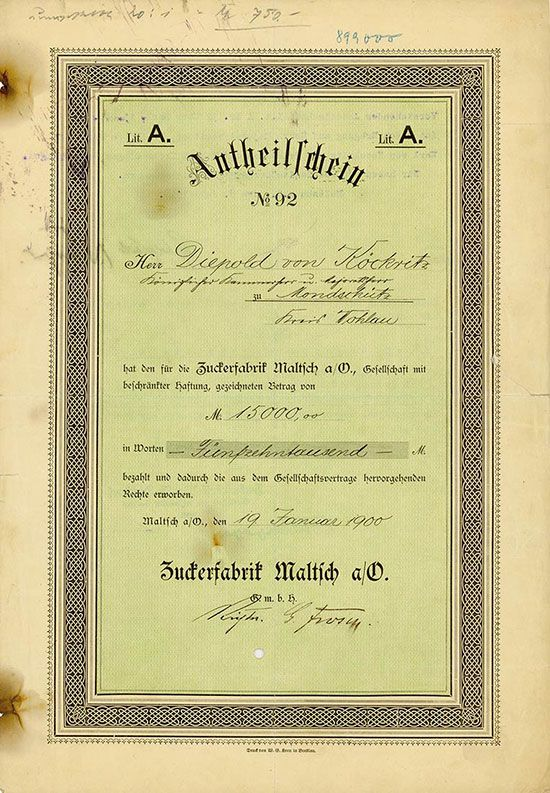 HWPH AG - Historische Wertpapiere - Zuckerfabrik Maltsch a/O. G.m.b.H. Maltsch, a/O., 19.01.1900, Antheilschein über 15.000 Mark, Lit. A, #92