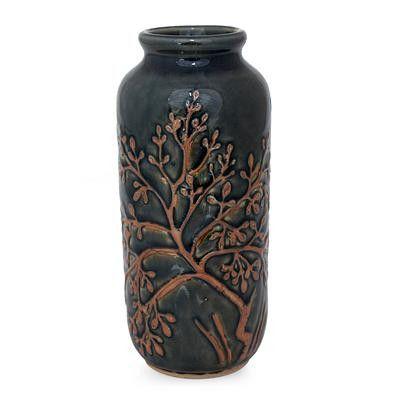 Fair Trade Celadon Ceramic Vase, 'Golden Tree'