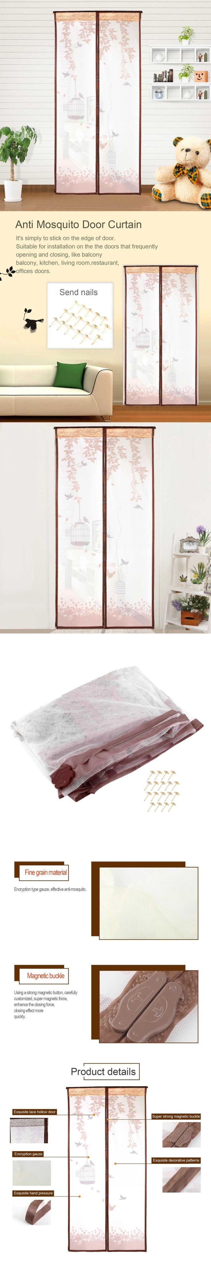 Cute Birdcage Pattern Anti-mosquito Mesh Curtains Magnetic Mosquito Net Mosquito Screen Fly Bug Anti Insect Coffee Color