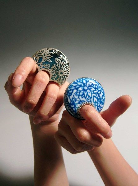 Wear these for a special occasion - I like the one on the left... Heng LEE- Blue and white series- rings, Sterling silver, copper, enamel