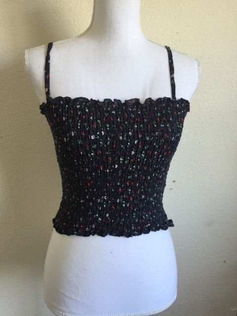 b976bd29f515ca Brandy Melville Navy Red Green Floral Smocked Cropped Ally Tank Top NWOT   fashion