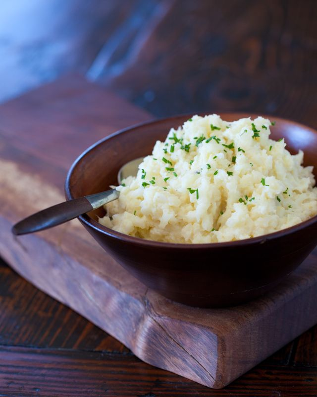 cauliflower mash with milk, butter, sour cream and garlic.