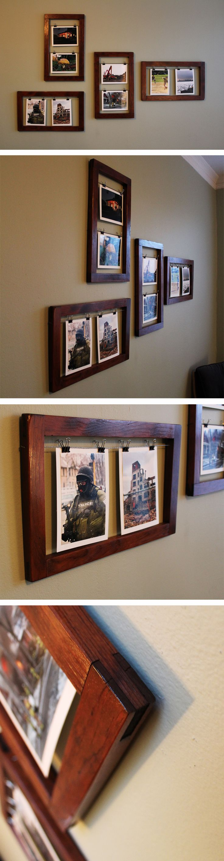 Glassless picture frames made from reclaimed window screen frames.