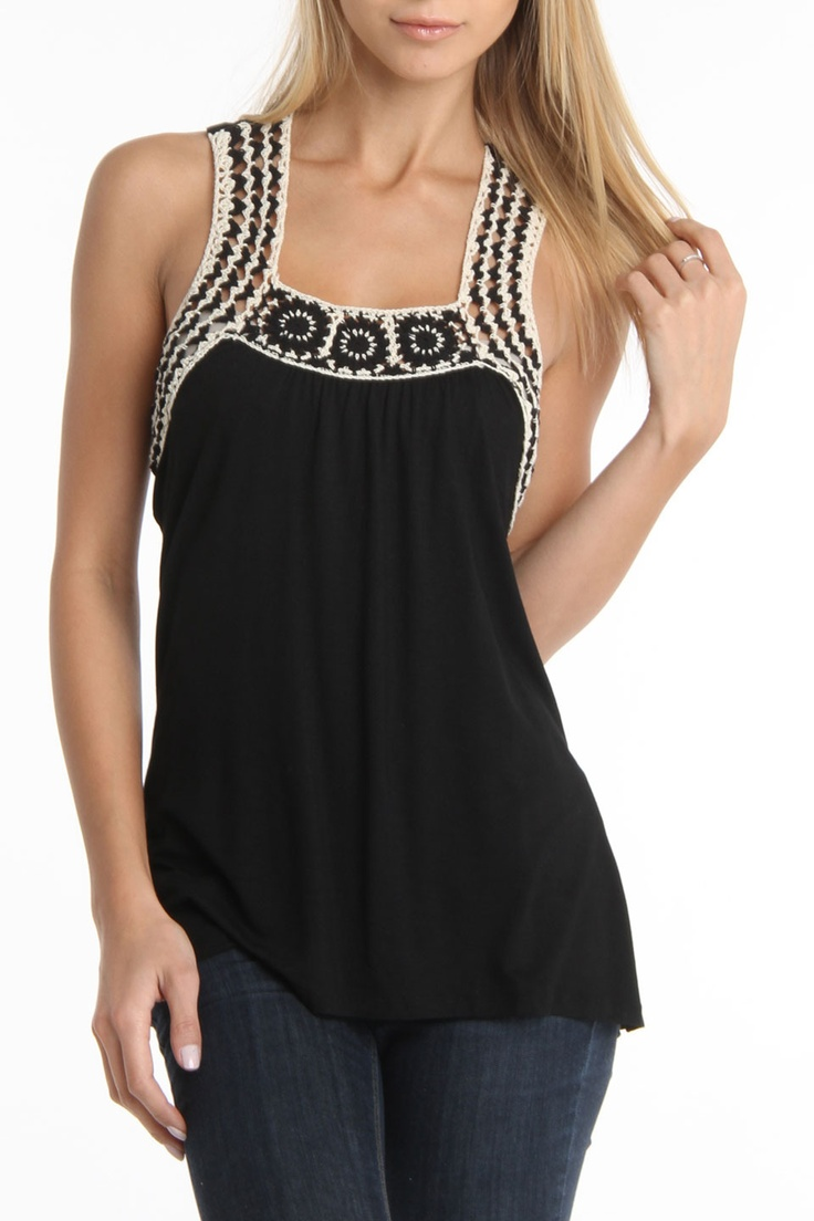 Maggie Top In Black by Rain $126 – $20 at Beyond the Rack.  Features racerback d…