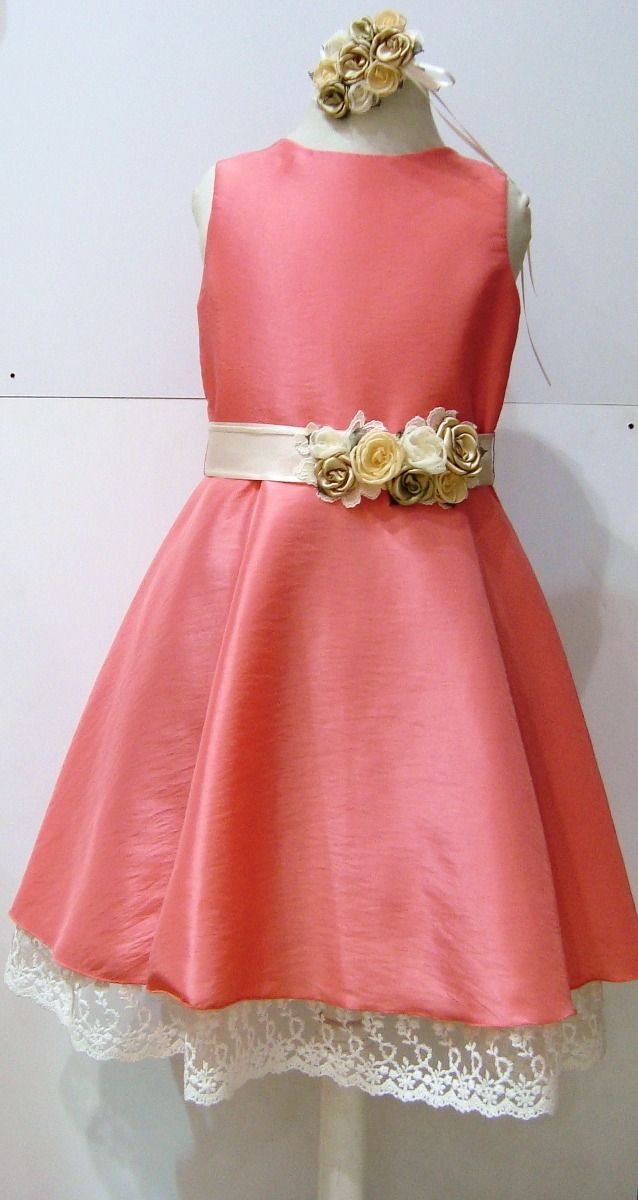 Hermoso Vestido Coral Para Nena Fiestas, Cumpleaños - $ 1.300,00 en MercadoLibre