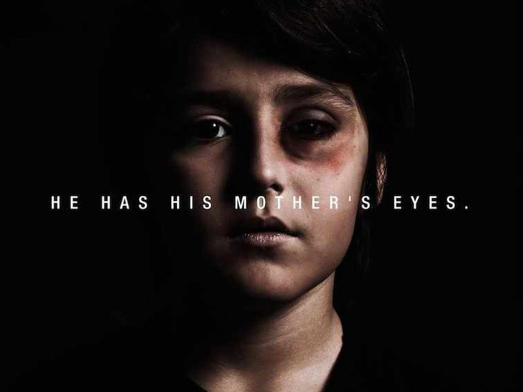 He has his mother's eyes.  Apt line to describe domestic violence