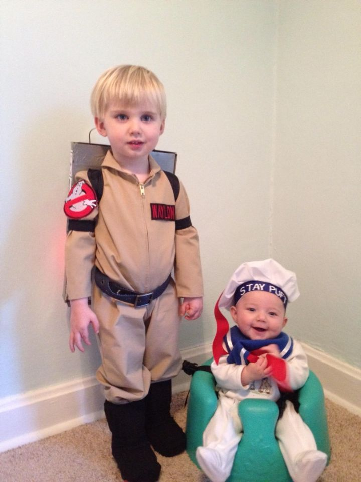 Ghostbusters and stay puft marshmallow man halloween costume brothers toddler and baby