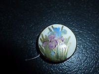 Vintage Satsuma Japanese Ceramic Button Iris Flowers Marked Stamped