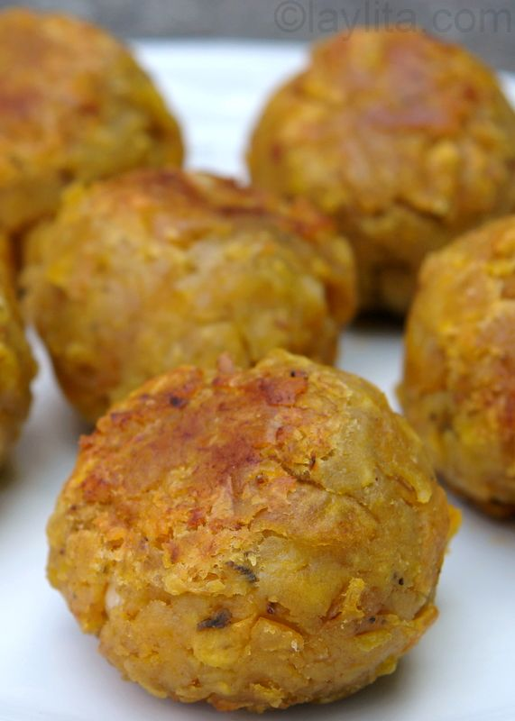 Ecuadorian Green Plantain Balls Stuffed with Pork (Bolon de Verde). These look so yummy! I will sub the vegetable oil with coconut oil for frying.