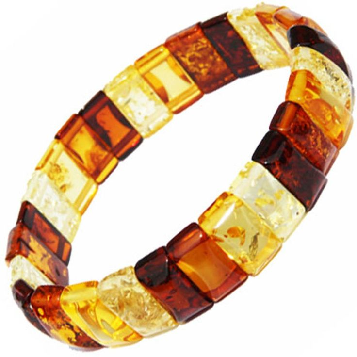 Elegant Mixed Amber Bracelet - Little Squares, stretch to fit wrists of all sizes.: Amazon.co.uk: Jewellery