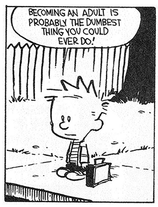 "Calvin and Hobbes QUOTE OF THE DAY (DA): ""Becoming an adult is probably the dumbest thing you could ever do."" - Bill Watterson"