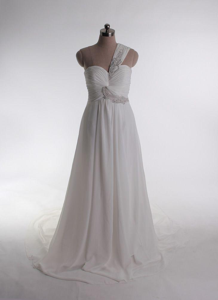 Gorgeous one shoulder A-line chiffon bridal gowns