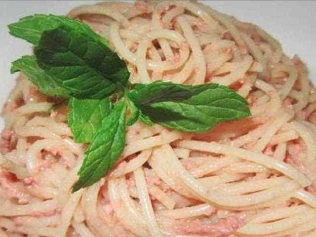 Espaguetis con foie grass