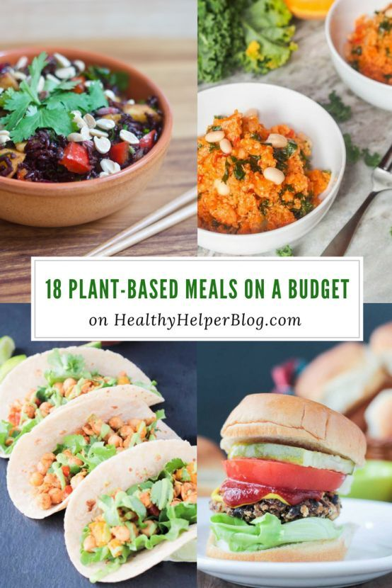18 Plant-Based Meals on a Budget | Healthy Helper @Healthy_Helper A roundup of healthy, wholesome meals that are 100% plant-based and easy on your budget! Plan a week of nutrition eats with this delicious roundup of cost effective, yet tasty recipes from around the web. Real food ingredients, creative dishes, and no animal products in sight!