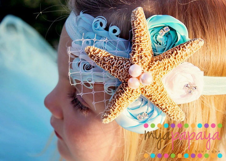 Mermaid Headband- Starfish Crown Rosette Fascinator Under the Sea. $24 ...