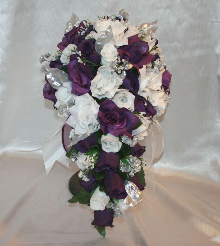Wedding Silk Rose Bridal Bouquet Cascade Package Purple White Silver 27 Pc