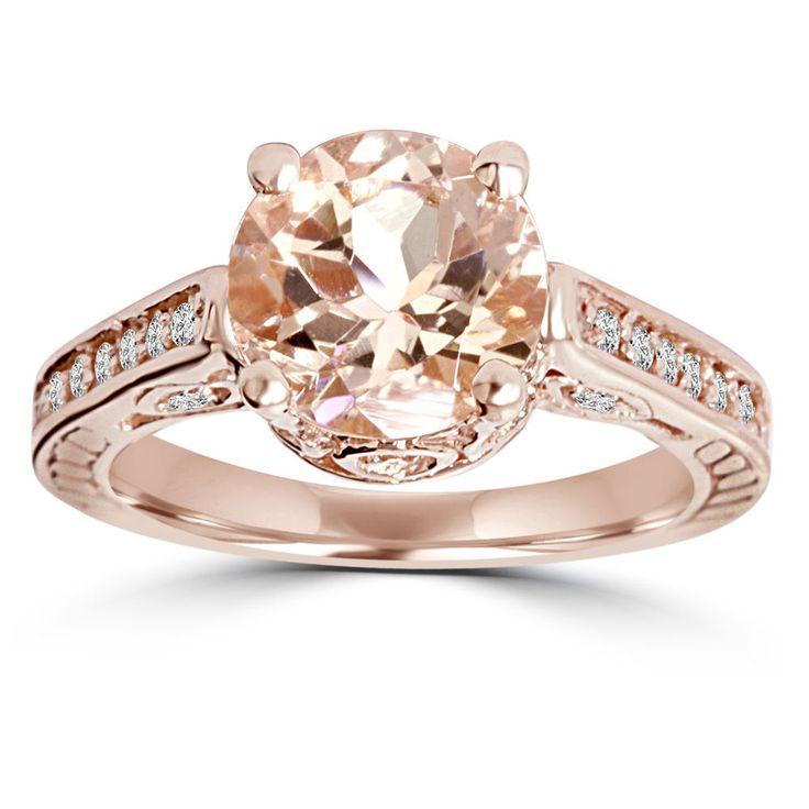 Morganite & Diamond Vintage Engagement Ring 2 Carat Antique 14K Rose Gold #Pompeii3Inc #SolitairewithAccents #Anniversary