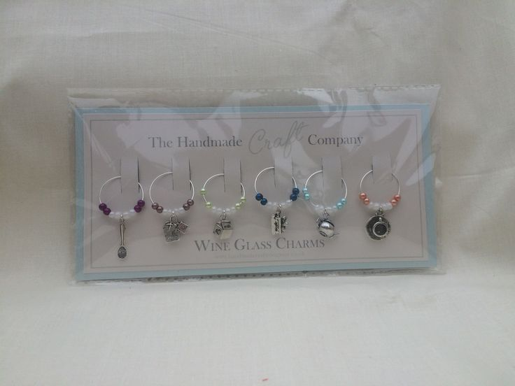 Set of 6 afternoon tea themed wine glass charms - prettify and identify your glass, or your tea cup handle :)