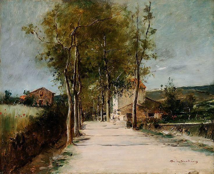 Mihály Munkácsy (Hungarian, 1844-1900) - Landscape with Alley and Building, c.1882, Hungarian National Gallery, Budapest - (Munkácsy Mihály - Fasor emeletes házzal, 1882 körül (Magyar Nemzeti Galéria)