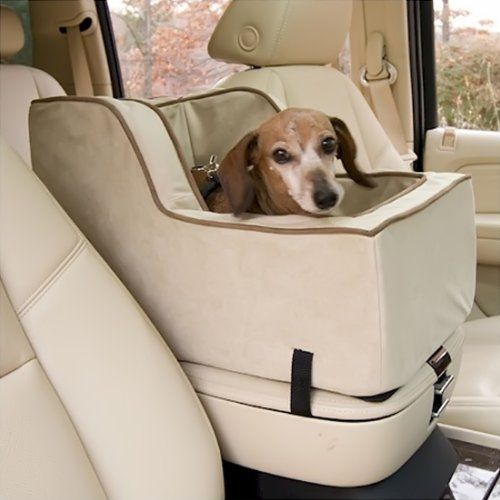 Snoozer Extra Large Luxury High-Back Console Pet Car Seat, Buckskin/Java Microsuede