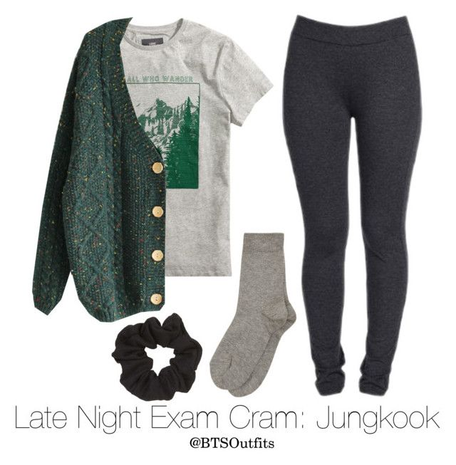 """""""Late Night Exam Cram: Jungkook"""" by btsoutfits ❤ liked on Polyvore featuring H&M, NYDJ and Topshop"""
