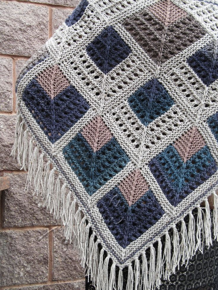 "Knit shawl ""Gardarika"" (knitted shawl, wool shawl, modular knitting, knit patchwork, stained-glass shawl, hand knit shawl)"