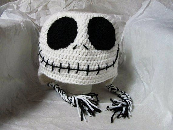 2014 Jack Skellington skeleton nightmare before christmas Crochet winter hat #Halloween #Decor #Crafts