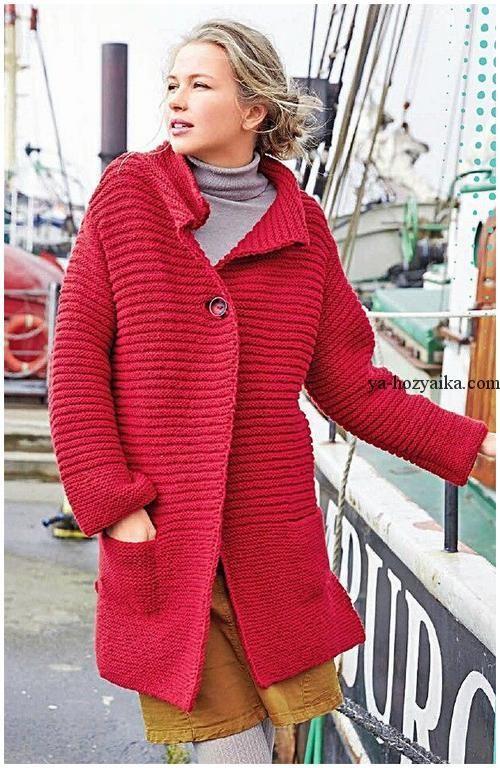Пальто платочной вязкой