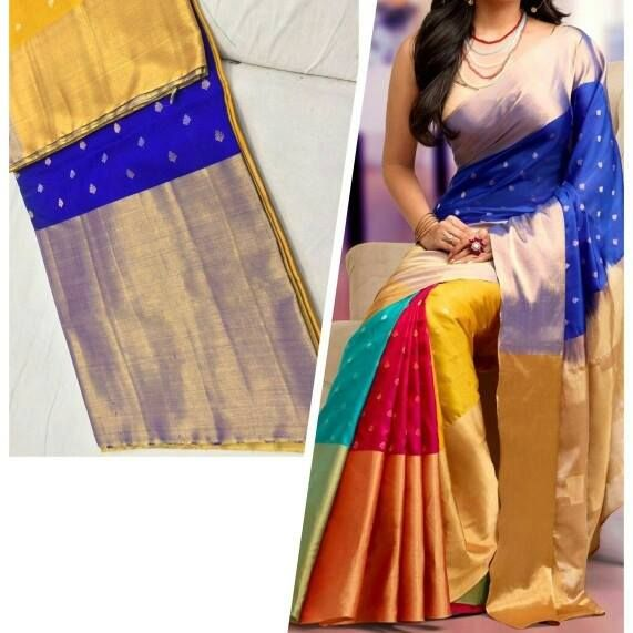 Exclusive Multi Color Pattu Saree Here is the beautiful multi color saree it looks very elegant. this saree frills we have four color like red,yellow and coppersulphate blue color and pallu dark blue color with rich long gold border.This saree will gives to rich and trendy look.To make this saree very beautiful/To purchase this saree details below. #multicolor #pattu #saree